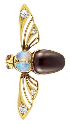 Antique Gold, Carbuncle, Opal and Diamond Scarf Pin