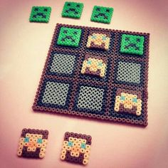Minecraft Tic-tac-toe game perler beads by chittyqy Melty Bead Patterns, Pearler Bead Patterns, Perler Patterns, Beading Patterns, Perler Beads, Perler Bead Art, Fuse Beads, Minecraft Hama, Minecraft Crafts