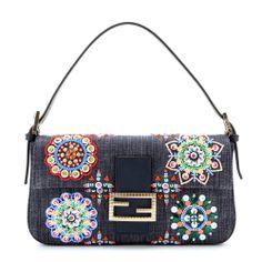 mytheresa.com - Borsa Baguette in denim con perline e paillettes - Borse a tracolla - borse - Luxury Fashion for Women / Designer clothing, ...