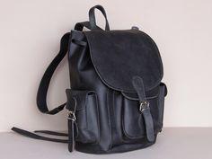 Black Boho Leather Backpack