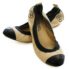 Chanel Cap Toe Ballet Flats in beige and black