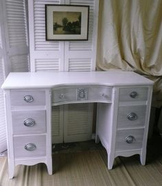Vintage Desk in White with Gray Contrast on by poppycottage