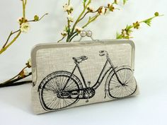 Linen Bicycle Clutch