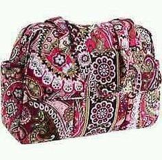 Vera Bradley Baby Bag Very Berry Paisley Changing Pad Shoulder Girl Diaper Strap