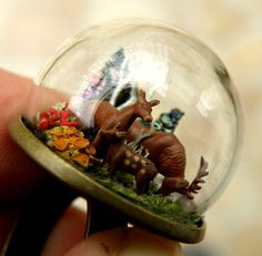 Deer Family In Crytasl Forest Glass Globe by ThePurpleArtichoke7