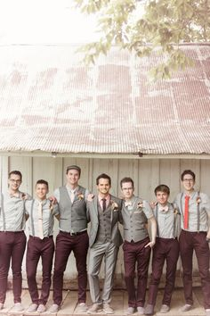 Wedding Suits Mix and Match Groomsmen Suits :: 2017 Wedding Trends - Planning on getting married in 2017 or Get inspired by these 2017 Wedding Trends. From greenery weddings to boho-chic wedding designs. Mismatched Groomsmen, Groomsmen Poses, Groomsmen Outfits, Groom And Groomsmen Attire, Bridesmaids And Groomsmen, Gray Groomsmen, Fall Wedding Groomsmen, Groomsmen Suspenders, Bridesmaid Dresses