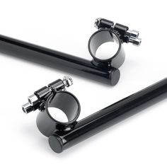"""These clip ons feature 7/8"""" bars and will fit any 35mm fork tube such as those found on some Triumphs, BSA, Norton, Yamaha xs650, Ducati, Motoguzzi, etc. Perfect for a cafe racer or custom. The bars themselves are 11-1/2"""" long. Black."""