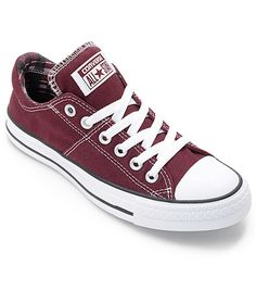Get ready for fall with the Chuck Taylor All Star Madison deep burgundy low profile shoes from Converse. These shoes feature a padded ankle and tongue with a canvas plaid print lining and a molded EVA footbed for comfort. The classic Converse gum rubber sole is designed to give tons of traction while staying casual.
