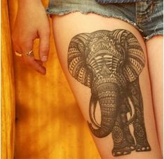 "are looking for an inspiration about Elephant Tattoo Designs then here you can get it. So just checkout 25 Heavy Elephant Tattoo Designs And Ideas For You"" 16 Tattoo, Tattoo Bein, Tattoo Motive, Tattoo Pics, Tattoo Fonts, Tattoo Art, Tattoo Quotes, Elephant Thigh Tattoo, Elephant Tattoo Design"