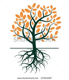 stylised tree and roots illustration falling leaves - Google Search