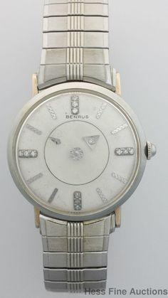 Scarce 18k White Gold Benrus Mystery Galaxy Diamond Vintage Mens Watch #Benrus