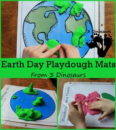Free Earth Day Playdough Mats - 8 pages with themes Flowers, Trees, Earth, and Recycle Bins - 3Dinosaurs.com