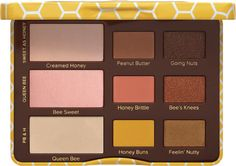 Too Faced Peanut Butter and Honey Palette featuring nine cocoa powder-infused shades with peanut butter neutrals and pops of honey.