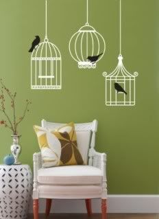 Bird cages wall... Love. the only part I wish was different- is I wish the wall was blue, behind the birds.