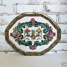 Vintage DAHER Decorated Ware Metal OCTAGONAL PLATTER TRAY by PRITCHARD Fruit