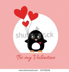 Valentines day card with cute flat penguin and hearts. Quote - Be my Valentine.