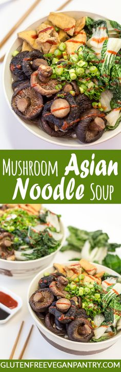 Mushroom Asian Noodle Soup - Vegan & Gluten-Free | glutenfreeveganpantry.com