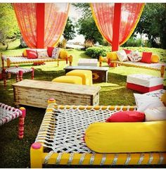 Lol that this is a mehndi decor idea. this looks so sad. The cots remind me of the cots we used at my grandfather's house in Tenali. Mehandi outdoor deco idea # Indian wedding # creative decoration idea for Indian weddings
