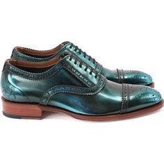 John Fluevog Women's Brandenburg Light Oxford (359 CAD) ❤ liked on Polyvore featuring shoes, oxfords, обувь, aqua metallic, cap-toe oxford, metallic shoes, antique shoes, john fluevog shoes and oxford shoes