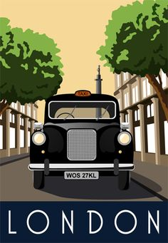 1.London Taxi. Seen this street somewhere before!! Illustration drawn by Karen Wallace of White One Sugar. For sale on our site.