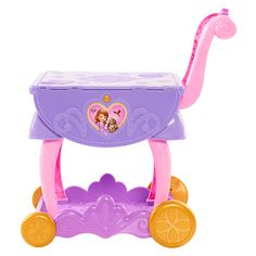 "Disney Junior's Sofia the First Delightful Dining Cart holds everything your little princess needs to throw a royal dinner party!<br><br>The Disney Junior's Sofia the First Delightful Dining Cart Features:<br><ul><li>Roll this beautiful cart to wherever you're entertaining and set the perfect royal table with the lovely teapot set featuring service for two.</li><br><li>This noble setting includes two tea cups, two sets of plates, two spoons, a kid-powered ""light-up"" candelabra, magical…"