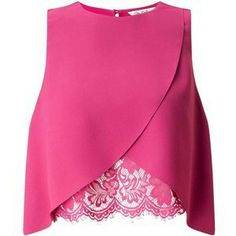 Pink Lace Insert Shell Top Pretty in pink! This lace insert shell is the perfect addition to your wardrobe. Polye - Sleeveless Tanks - Ideas of Sleeveless Tanks Pink Lace Tops, Lacy Tops, Lace Crop Tops, Cropped Tops, Lace Tank, Mode Kimono, Shirt Bluse, Shell Tops, Sleeveless Crop Top