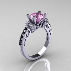 Modern Armenian Classic 18K White Gold 1.5 Carat Light Pink Sapphire Black and White Diamond Solitaire Wedding Ring R137-18WGDBDLPS on Etsy, $1,199.00