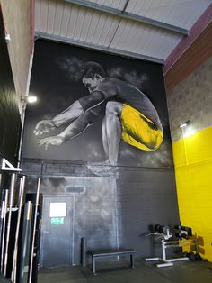 SOSAthleticExcellence gym Mural Cardiff Graffiti 2 – Graffiti World Cardiff, Gym Design, Fitness Design, Graffiti Art, College Workout, College Fitness, Sport Studio, Dream Gym, Gym Interior
