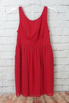 Womens MAURICES Red Blue White Floral Scoop Neck Empire Waist Dress Size 9 10 #Maurices #EmpireWaist #CasualWeartoWork