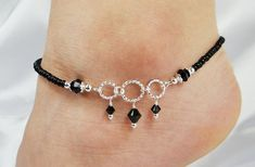 Anklet, Ankle Bracelet, Jet Black Swarovski Crystal Dangles, Circle Ring Connectors, Beaded, Customizable, Wedding, Beach, Vacation on Etsy, $13.50 #diyankletsblack