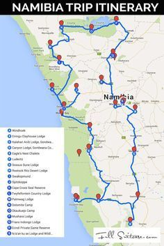 Complete Namibia trip itinerary with a map and detailed day-to-day explanation o. Complete Namibia trip itinerary with a map and detailed day-to-day explanation of our family's road trip. Featuring our personal recommendations and best tips! Travel Maps, Africa Travel, Travel Packing, Travel Photos, Places To Travel, Travel Destinations, Travel Route, Tourist Places, Packing Lists