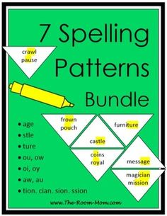 7 spelling patterns bundle-- 7 spelling lists, activities, tests and answer keys for common spelling patterns