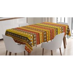 Primitive Decor Tablecloth, Tribal Art with Abstract Pattern Ancient Indigenous Rug Motif Symbol, Rectangular Table Cover for Dining Room Kitchen, 52 X 70 Inches, Orange Yellow, by Ambesonne #primitivekitchen