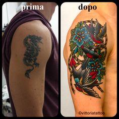 Cover up with Swallows and Anchor Tattoo #tattoocomo #coverup #dragon #swallows #anchor #tattoo #vittoriatattoo #tattooshop #tattoolife #comolake #como #classictattoo #tattoosbyvittoria #inked www.vittoriatattoo.com