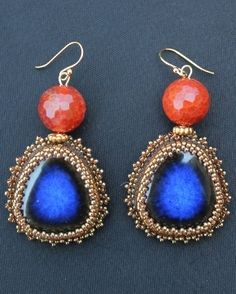Lapis Ceramic Cabochon & Fire Agate Earrings