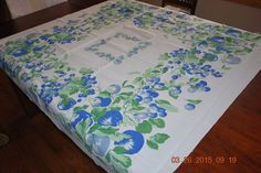 49in x 51in VINTAGE TABLE CLOTH BLUE  AND GREEN WITH BLUEBERRIES STRAWBERRIES