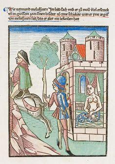 """Raymond überrascht Melusine beim Baden und entdeckt ihren Schlangenleib. Illustration aus Thüring von Ringoltingens """"Melusine"""" (nach dem Erstdruck Basel: Richel, um 1473/74)."""