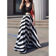 Striped Sleeveless Scoop Neck Floor-Length Women's Dress