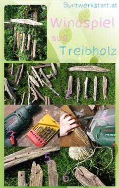 Windspiel aus Treibholz driftwood wind chime