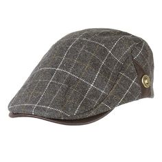 3aec941058f  US 11.34 58% OFF  Men Male Wool Blend Newsboy Beret Cap Grid Blank Thick  Flat Cowboy Cabbie Hat Men s Accessories from Clothing and Apparel on  banggood.com