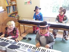 Our young budding music pupils on Cowboys and Indians Day.