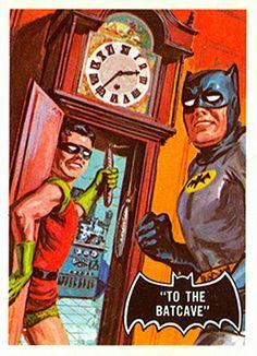 1966 Batman Black Bat Card No.39 To the Batcave |  #comics #comicbooks #dccomics #superheroes #batman #tradingcards #topps #art #artwork