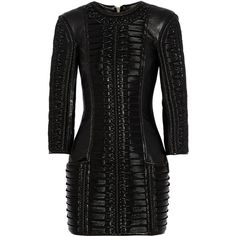 Stitched wool-paneled leather mini dress (£4,025) ❤ liked on Polyvore featuring dresses, balmain, vestidos, short dresses, black dresses, short black dresses, black leather dress, black wool dress, wool dress and genuine leather dress