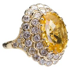 1980s van cleef & arpels 18k gold and diamond and yellow sapphire ring