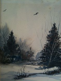 Winter scene, limited colors