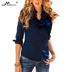 4c43460234fc Avodovama M 2018 5 Solid Color Button Blouse Women s Slim Office Shirts New  Long-Sleeve Turn-down Collar Tops