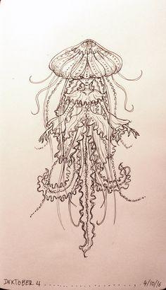 Inktober Jellyfish by Lizziefij on DeviantArt Jellyfish Drawing, Jellyfish Painting, Jellyfish Tattoo, Watercolor Jellyfish, Jellyfish Quotes, Jellyfish Aquarium, Jellyfish Sting, Tattoo Watercolor, Mermaid Drawings