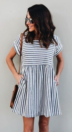 #fall #outfits women's gray and white stripe short-sleeve mini dress