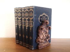 pair of vintage botanical Syroco wood bookends. retro home & office decor   ReRunRoom   $36.00
