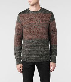 Mens Asplund Crew Sweater (Charcoal/Russet)   ALLSAINTS.com @Oscar Diaz